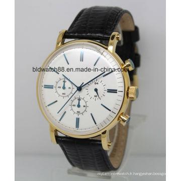 2017 nouveau mode hommes en acier inoxydable chronographe montre avec bande de cuir