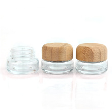 20ml Portable Travel Glass Bottle Bamboo Lid Jars for  Eyeshadow and Lotion Essential Oils