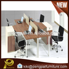Fashionable four seater walnut color hot sale office partition design