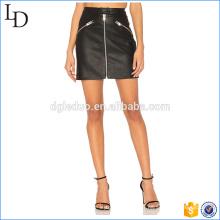 vente en gros dans Chia crayon jupe en cuir noir avec une robe à glissière
