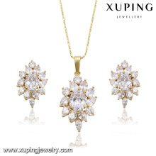 63877 xuping 14k gold color flower shape crystal jewelry set,luxury earrings and pendant set