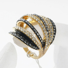 women's fashion accessories multi row full rhinestone ring, luxury shining finger jewelry