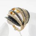 women's fashion accessories multi row full rhinestone ring, luxury shining finger jewelry