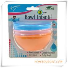 Childern Sichere Tragbare Baby Löffel und Gabel Baby Geschirr S2015 Werbegeschenk für Baby Care 3 STÜCKE Kleine Runde Schüssel (HA78023)