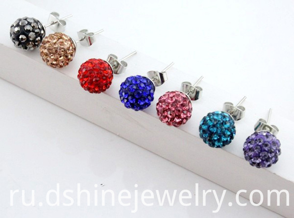 Shamballa Balls Stud Earring For Women