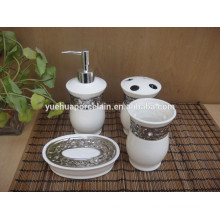 Modern decorative ceramic bathroom accessories set with steel 2015