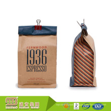 Customised Company Logo Printed Kraft Paper Flat Bottom Side Gusseted 12oz Doypack Packaging For Ground Coffee