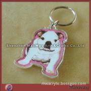 Decent clear promotion dog-shaped acrylic/PMMA keychain/key ring/key holder