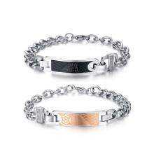 Lovers chunky rose or et bracelet en forme de coeur noir, bijoux de couple unique