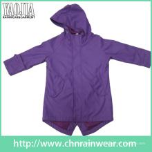 Yj-1058 Meninas Purple Rain Jacket Slicker Vestuário para Mulheres Raincoat com Capuz
