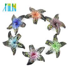 MC0057 Moda hecha a mano estrella de mar 3D flor interior Murano colgante de cristal de murano para collar 12 unids / caja