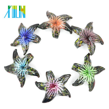 MC0057 Mode Fait main 3D étoile de mer intérieure fleur Murano Lampwork Pendentif en verre pour collier 12 pcs / boîte