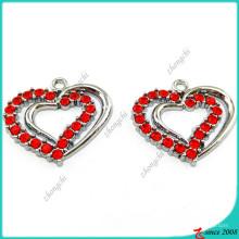 Duplo coração vermelho pendan encantos atacado (mpe)