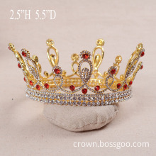Gold Plated Red Rhinestone Full Round Crown