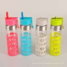 Werbe-Safe mit Kinder-Glas-Wasser-Flasche mit Silikon-Hülle