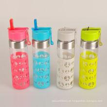 Cofre promocional com garrafa de água de vidro infantil com manga de silicone