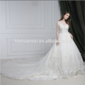 Latest wedding gown designs court train sleeveless wedding dress bridal