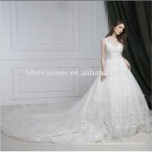 Mais recente vestido de casamento projetos de trem tribunal sem mangas vestido de noiva nupcial