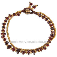 Hand Crafted Brass Beads Genuine Garnet Stone Bead Bracelet Vners SB-0031