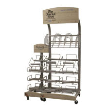 Starker hölzerner Rahmen-Metalldraht-Standplatz im Freien beweglicher Bambuszeitung-Buch-Anzeigen-Standplätze