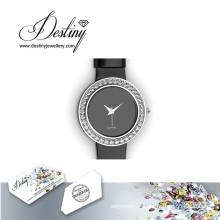 Destin bijoux cristal de Swarovski en cuir élégant montre