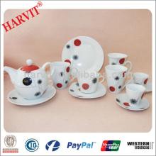 Juegos de desayuno de porcelana de cerámica elegante / Juego de mesa de desayuno / Platos de té alto Tazas de café Platillos Bandejas Juegos