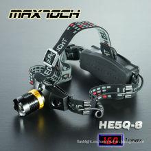 Maxtoch HE5Q-8 casco LED luz Zoom largo tiempo de ejecución de linterna
