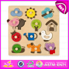 2015 Small Educational Kid Wooden Knob Puzzle, DIY Cute Children Knob Puzzle Game, Good Quality Big Knob Wooden Puzzle Toy W14m062