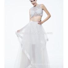 La plus nouvelle robe de soirée sexy sans manches blanche pure de dames pour le musulman