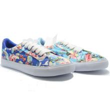 Blaue Blumen-Segeltuch-Freizeit-hohe Qualiy-Damen-Studenten-Frauen-Schuhe