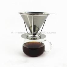 O costume de aço inoxidável de venda quente 4 o filtro de café reusável do copo derrama sobre