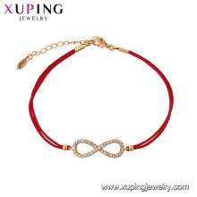 75582 Xuping Bijoux Vente Chaude Femmes Élégant plaqué or rouge corde Bracelet pour cadeau
