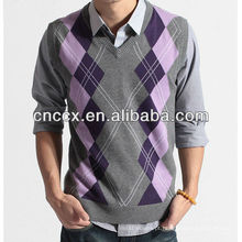 12STC0580 mens crochet sweater colete padrão