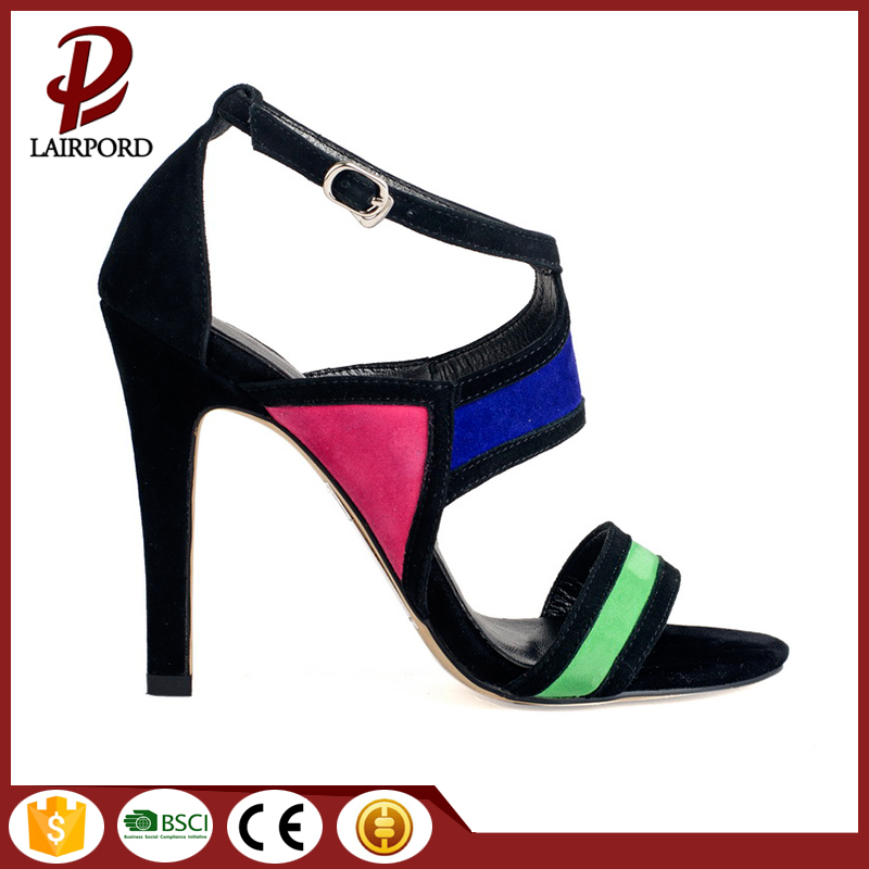 Daily leisure colourful suede thin heel sandals