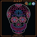 Colorful Flower Skull rhinestone transfer motif