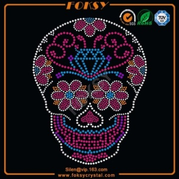 Renewable Design for Skull Rhinestone Iron On Transfer Colorful Flower Skull rhinestone transfer motif supply to Yugoslavia Factories