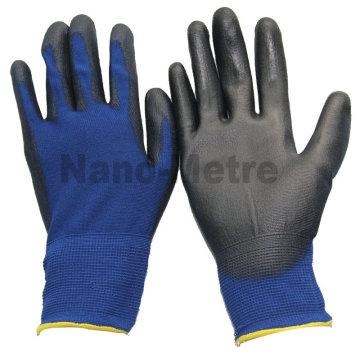 Luva de trabalho NMSAFETY 18 calibre mergulho de nylon azul marinho luva de PU leve e flex