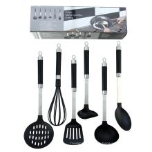 Juego de utensilios de cocina de nailon de grado alimenticio de 6 piezas