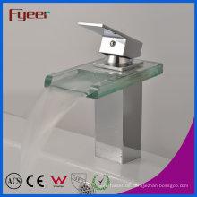 Fyeer Verchromt Quadrat Glas Wasserfall Auslauf Einzigen Handgriff Messing Waschbecken Wasserhahn Waschbecken Wasser Mischbatterie Wasserhahn