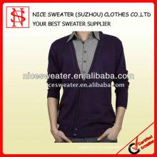 suéter 100% del hombre de la rebeca del algodón de la manga larga