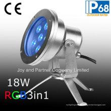 24V 18W Tricolor LED Underwater Spot Light IP68 (JP95566)