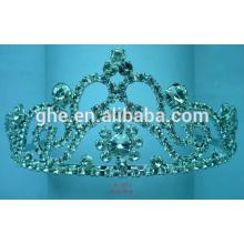 Rhinestone desfile coroa vintage cristal tiara princesa coroa anel novo design cabelo
