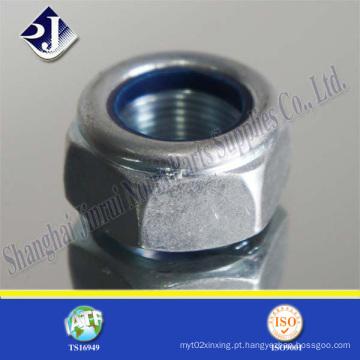 Nylon bloqueio porca hexagonal com zinco