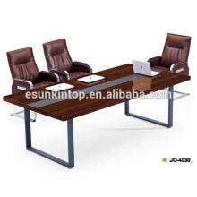 Mobiliário de escritório profissional para mesa de reunião MDF + acabamento de melamina com tapeçarias de cor wenge bonito (JO-4030)