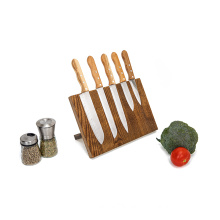 KINDOME Amazon Hot Sales Walnut Wood Knife Block Magnetic with Stainless Steel Stand