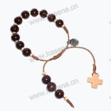 10 milímetros madeira Beaes cordão knotter pulseira com cruz de madeira