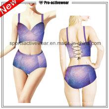 OEM 2016 tecido Ladies Sexy V Forma One Piece Swimwears