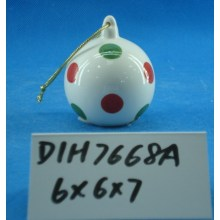 Hand-Painted Ceramic Round Bauble for Christmas Tree Decoration