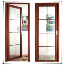 Puerta de madera de aluminio templado doble de Woodwin de la calidad superior