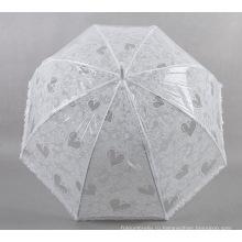 Белый кружевной зонт с сердечком для дам